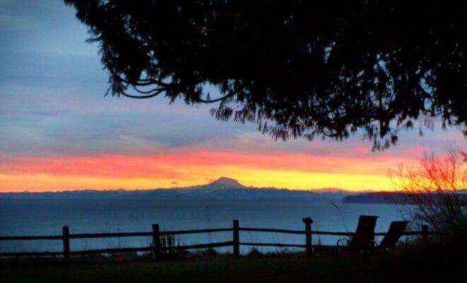 Sunrise with Mount Baker from Domaine Madeliene, Port Angeles, Washington