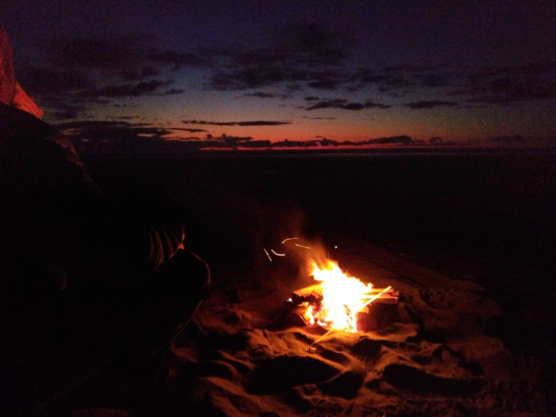 Sunset at Long Beach with beach campfire Ordinary Adventures 1