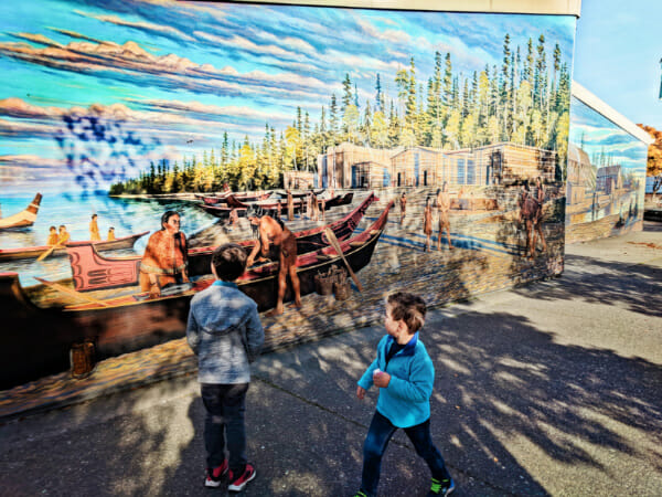 Taylor Family at Port Angeles waterfront with Mural